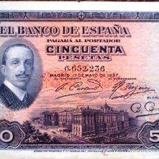 Billetes españoles: 50 PESETAS 1927 ALFONSO XIII SIN SELLO DE LA REPUBLICA ESPAÑOLA VER FOTOS . Lote 34278119
