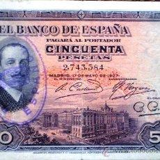 Billetes españoles: 50 PESETAS 1927 ALFONSO XIII CON SELLO DE LA REPUBLICA ESPAÑOLA VER FOTOS. Lote 34278152