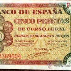Billetes españoles: 5 PESETAS 1938 VER FOTOS . Lote 34278891