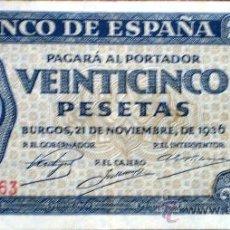 Billetes españoles: 25 PESETAS 1936 GUERRA CIVIL VER FOTOS . Lote 34278943