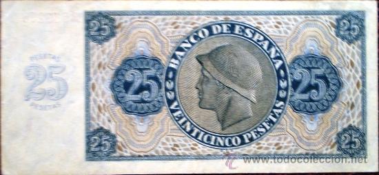 Billetes españoles: 25 Pesetas 1936 Guerra Civil Ver Fotos - Foto 2 - 34278943