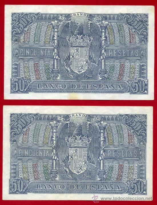Billetes españoles: PAREJA , 2 BILLETES 50 PESETAS ENERO 1940 , EBC+ , SIN CIRCULAR, SERIE C , ORIGINALES, T062 - Foto 2 - 34311772
