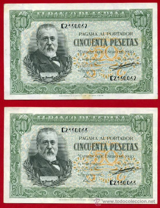 PAREJA , 2 BILLETES 50 PESETAS ENERO 1940 , EBC+ , SIN CIRCULAR, SERIE C , ORIGINALES, T062 (Numismática - Notafilia - Billetes Españoles)