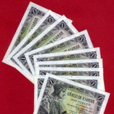 Billetes españoles: LOTE 6 BILLETES 1 PESETA 1943 , PLANCHA , SERIE H , CORRELATIVOS , T202. Lote 34359190