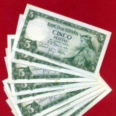 Billetes españoles: LOTE 14 BILLETES 5 PESETAS 1954 , PLANCHA , SERIE H , CORRELATIVOS , T888. Lote 226397638