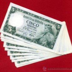 Billetes españoles: LOTE 12 BILLETES 5 PESETAS 1954 , PLANCHA , SERIE F , CORRELATIVOS , T509. Lote 226397670