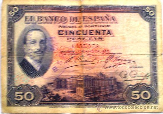 50 PESETAS ALFONSO XIII 1927 CON SELLO REPUBLICA ESPAÑOLA CIRCULADO (Numismática - Notafilia - Billetes Españoles)