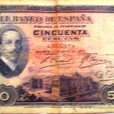 Billetes españoles: 50 PESETAS ALFONSO XIII 1927 CON SELLO REPUBLICA ESPAÑOLA CIRCULADO. Lote 34422743