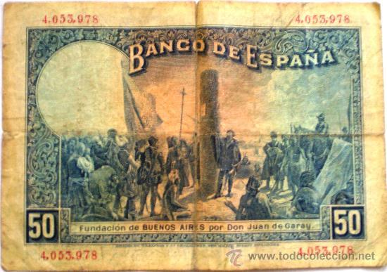 Billetes españoles: 50 Pesetas Alfonso XIII 1927 Con Sello Republica Española Circulado - Foto 2 - 34422743