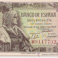 Billetes españoles: 1 PESETA DE 1945 DISTINTAS SERIES, PLANCHA. Lote 34490342