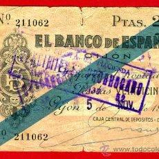 Billetes españoles: BILLETE 25 PESETAS BANCO GIJON 1936 , MBC - , ORIGINAL , T062. Lote 34576819