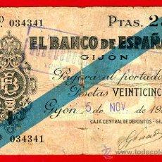 Billetes españoles: BILLETE 25 PESETAS BANCO GIJON 1936 , MBC - , ORIGINAL , T341. Lote 34576827