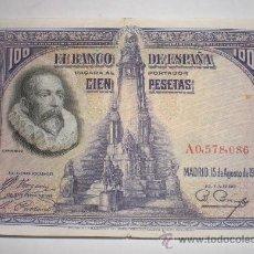 Billetes españoles: 100 PESETAS, CERVANTES, 15 AGOSTO 1928, SERIE A. Lote 35168622
