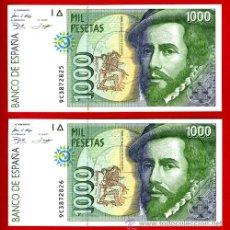 Billetes españoles: PAREJA 2 BILLETES 1000 PESETAS 1992 , EBC+ , CORRELATIVOS , SERIE ESPECIAL 9C. Lote 35261984