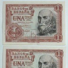 Billetes españoles: 3 BILLETES CORRELATIVOS DE 1 PESETA CON SERIE DE 22 JULIO 1953. SC- VER DESCRIPCIÓN Y FOTOS. Lote 34314566
