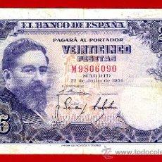 Billetes españoles: BILLETE 25 PESETAS 1954 , MBC- , SERIE M , ORIGINAL , T090. Lote 35536207