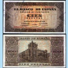 Billetes españoles: ESTADO ESPAÑOL.- 100 PESETAS. BURGOS 20 MAYO 1938. SERIE -E- EXCELENTE BUENA CONSERVACION MENOS EBC. Lote 35641669