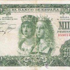 Billetes españoles: BILLETE 1000 PESETAS 29 NOVIEMBRE 1957 - REYES CATÓLICOS - SIN SERIE -. Lote 35731724