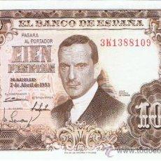 Billetes españoles: BILLETE 100 PESETAS - 7 ABRIL 1953 - JULIO ROMERO DE TORRES - PLANCHA - S/C. Lote 35731775