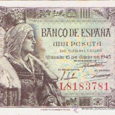 Billetes españoles: BILLETE 1 PESETA - 15 JUNIO 1945 - PLANCHA - S/C. Lote 35732072