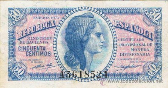 BILLETE 50 CÉNTIMOS - 1937 - MINISTERIO DE HACIENDA - (Numismática - Notafilia - Billetes Españoles)