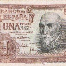 Billetes españoles: BILLETE 1 PESETA - 22 DE JULIO 1953 - CERVANTES - ESTADO ESPAÑOL -. Lote 35732737