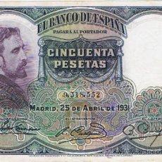 Billetes españoles: BILLETE 50 PESETAS -25 DE ABRIL 1931 - ROSALES - . Lote 35799207