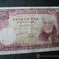 Billetes españoles: AºBILLETE-ESPAÑA-50 PESETAS 31 DICIEMBRE 1951-S/A9392409-SANTIAGO RUSIÑOL-.. Lote 35836168