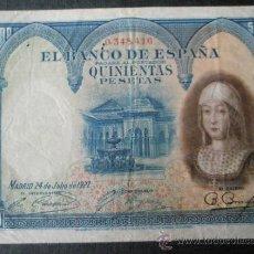 Billetes españoles: BILLETE ESPAÑA-500 PESETAS-24 JULIO 1927-ISABEL LA CATÓLICA-SIN SERIE 0348416-.. Lote 35855588