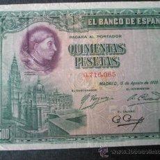 Billetes españoles: BILLETE ESPAÑA-500 PESETAS-15 AGOSTO 1928-SIN SERIE 0716065-CARDENAL CISNEROS-.. Lote 35855658