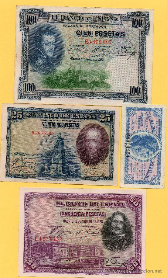 OFERTON !! LOTE 4 BILLETES DIFERENTES GUERRA CIVIL. BANCO ESPAÑA. REPUBLICA ESPAÑOLA. . (Numismática - Notafilia - Billetes Españoles)