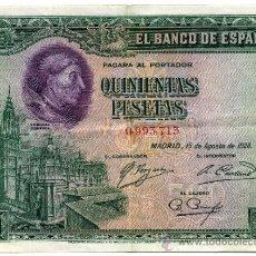 Billetes españoles: BILLETE DE 500 PESETAS 1928 SIN SERIE EXCELENTE CONSERVACION. Lote 35930524