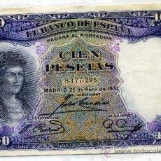 Billetes españoles: BILLETE DE 100 PESETAS 1931 SIN SERIE EXCELENTE CONSERVACION. Lote 35930602