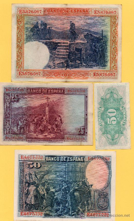 Billetes españoles: OFERTON !! LOTE 4 BILLETES DIFERENTES GUERRA CIVIL. BANCO ESPAÑA. REPUBLICA ESPAÑOLA. . - Foto 2 - 35927154