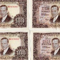 Billetes españoles: 10 BILLETES DE 100 PESETAS AÑO 1953 JULIO ROMERO DE TORRES, SIN CIRCULAR CORRELATIVOS. Lote 36192608