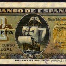 Billetes españoles: BILLETE ESPAÑA - 1 PESETA - MADRID 4 DE SEPTIEMBRE DE 1940 - NAO SANTA MARIA - SERIE-A. Lote 36597801