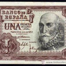 Billetes españoles: BILLETE ESPAÑA - 1 PESETA - MADRID 22 DE JULIO DE 1953 - MARQUES DE SANTA CRUZ - SIN SERIE . Lote 36601406