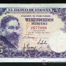 Billetes españoles: BILLETE DE 25 PTS DE 1954 SIN SERIE. EBC++. Lote 36641637