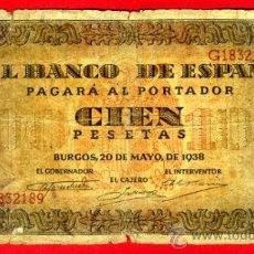 Billetes españoles: BILLETE 100 PESETAS 1938 , BC , SERIE G , ORIGINAL ,T189. Lote 36644074