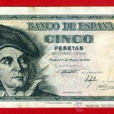 Billetes españoles: BILLETE 5 PESETAS 1948 , MBC , SERIE C , ORIGINAL , T474. Lote 36857184