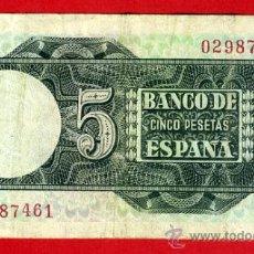 Billetes españoles: BILLETE 5 PESETAS 1948 , MBC- , OJO SIN SERIE , ORIGINAL , T461. Lote 36858244