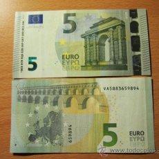 Billetes españoles: IMPRESIONANTE: BILLETE 5 EUROS NUEVA EMISIÓN, FIRMA MARIO DRAGHI, SERIE ESPAÑOLA, V004A3, AÑO 2013. Lote 37058156