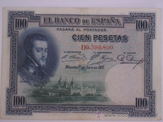 BILLETE DE 100 PESETAS. 1-JULIO-1925. FELIPE II / EL ESCORIAL - SERIE D9,399,890 - BC. (Numismática - Notafilia - Billetes Españoles)