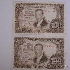Billetes españoles: LOTE DE DOS BILLETES DE CIEN PESETAS. EMISION : 7 DE ABRIL DE 1953. Lote 37396214