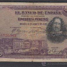 Billetes españoles: .BILLETE ESPAÑA 1928 - 50 PTA VELAZQUEZ SIN SERIE USADO, RESELLO DEL ESTADO ESPAÑOL . Lote 37476713