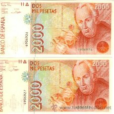 Billetes españoles: PAREJA DE BILLETES ESPAÑA 1992 SIN CIRCULAR - 2000 PESETAS SIN SERIE CORRELATIVOS. Lote 37624593
