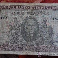 Billetes españoles: BILLETE DE 100 CIEN PESETAS AÑO 1940 CRISTOBAL COLÓN // SERIE C. Lote 37687229
