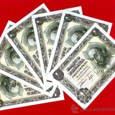 Billetes españoles: LOTE 6 BILLETES 1 PESETA 1951, PLANCHA CORRELATIVOS , SERIE M , ORIGINAL , T162. Lote 37727524