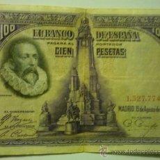 Billetes españoles: BILLETE BANCO ESPAÑA 100 PTAS.-15-8-1928. Lote 37811150