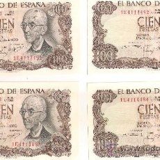 Billetes españoles: 4 BILLETES CORRELATIVOS 100 PTS 1970 SIN CIRCULAR. Lote 37870326